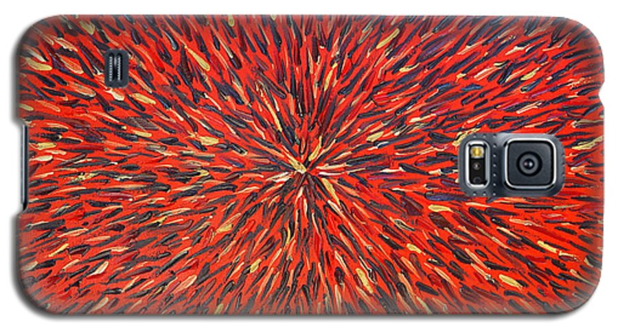 Abstract Galaxy S5 Case featuring the painting Radiation Red by Dean Triolo