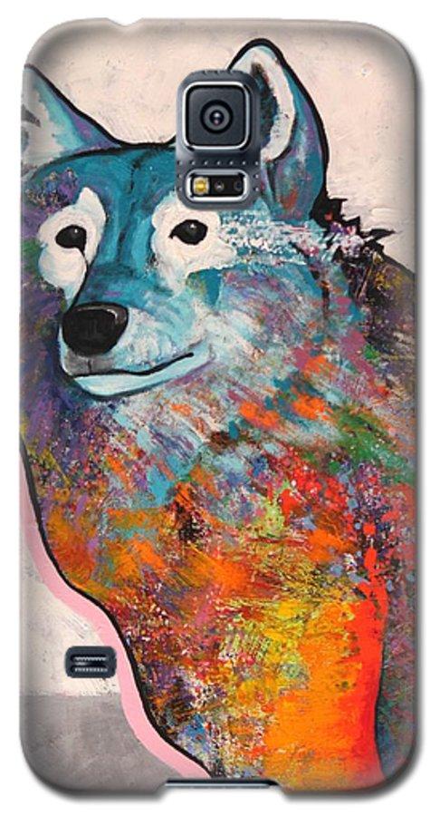 Animal Galaxy S5 Case featuring the painting Rainbow Warrior - Alfa Wolf by Joe Triano