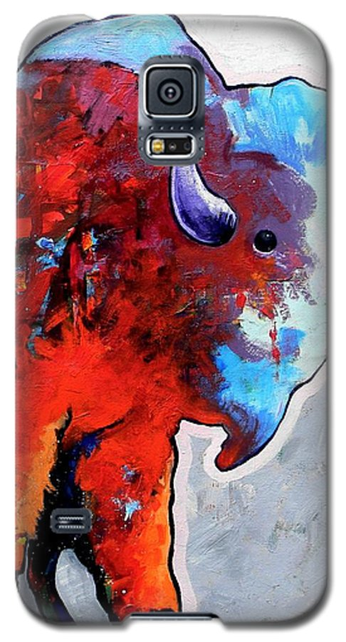Wildlife Galaxy S5 Case featuring the painting Rainbow Warrior Bison by Joe Triano