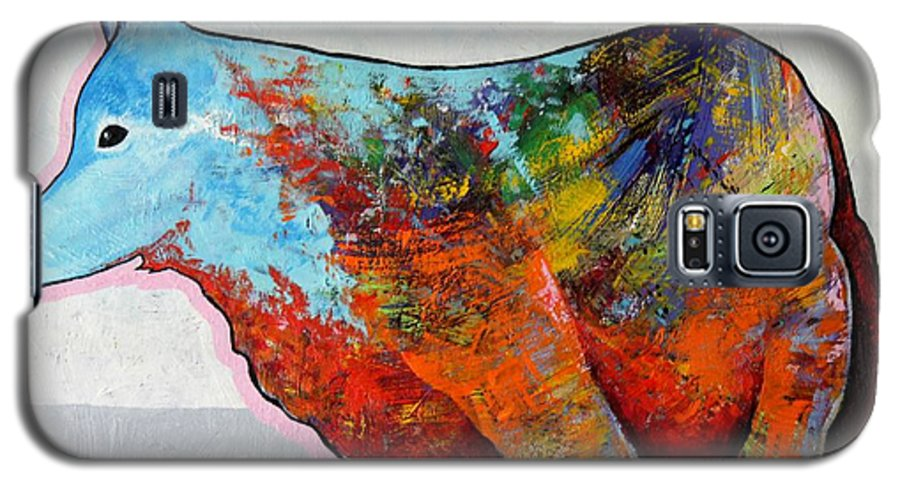 Animal Galaxy S5 Case featuring the painting Rainbow Warrior - Coyote by Joe Triano