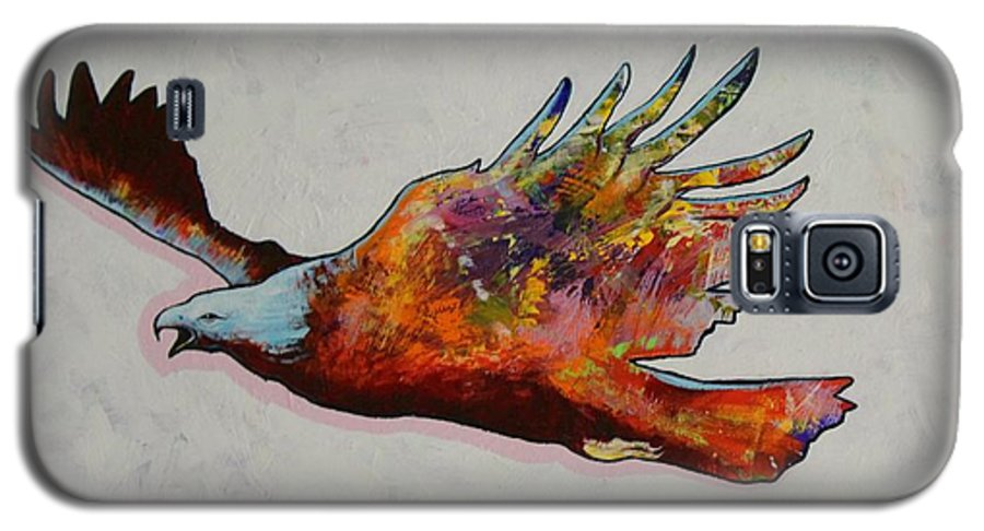 Wildlife Galaxy S5 Case featuring the painting Rainbow Warrior Flying Eagle by Joe Triano