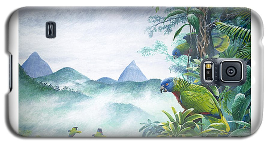 Chris Cox Galaxy S5 Case featuring the painting Rainforest Realm - St. Lucia Parrots by Christopher Cox