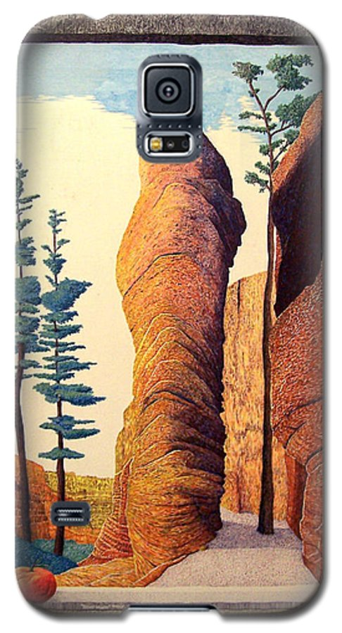 Landscape Galaxy S5 Case featuring the painting Reared Window by A Robert Malcom