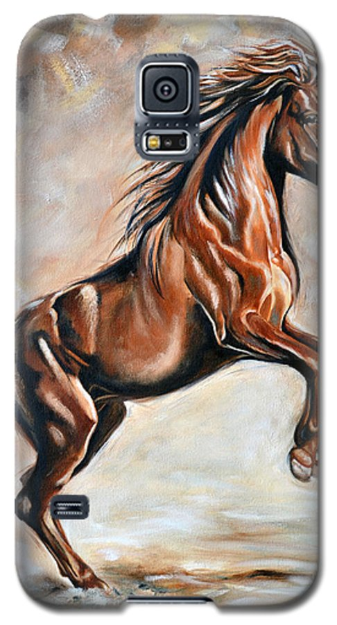 Horse Galaxy S5 Case featuring the painting Red Beauty by Ilse Kleyn