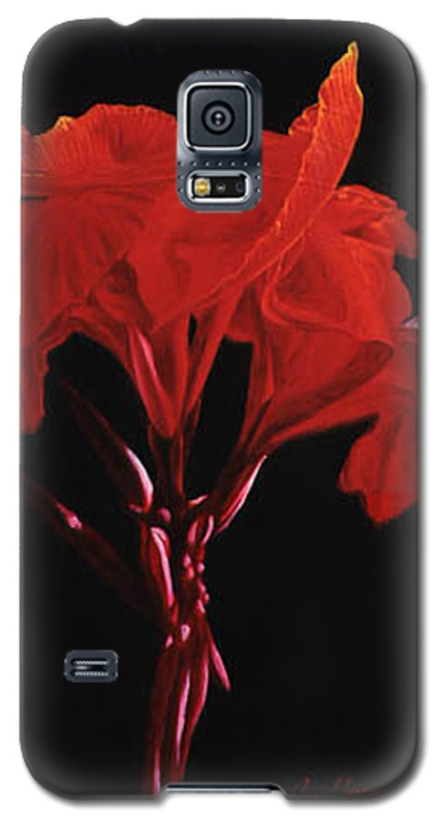 Floral Galaxy S5 Case featuring the painting Red Canna by Gary Hernandez