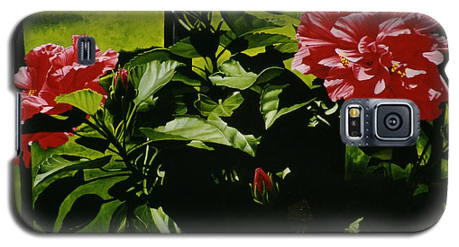 Floral Galaxy S5 Case featuring the painting Red Hibiscus by Gary Hernandez
