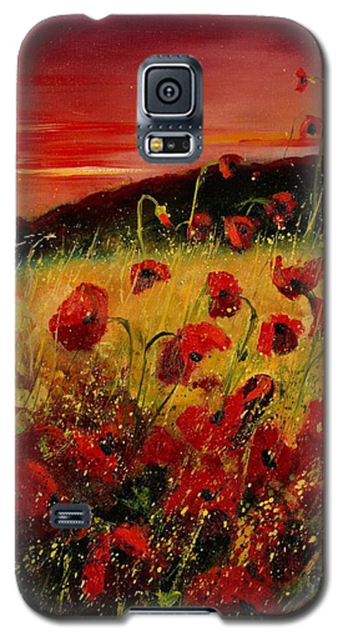 Poppies Galaxy S5 Case featuring the painting Red Poppies And Sunset by Pol Ledent