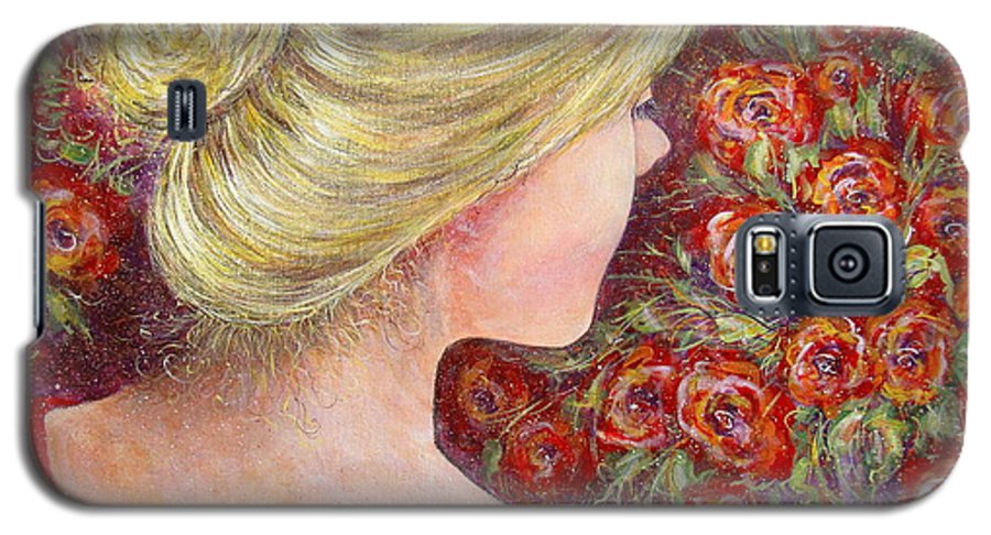 Female Galaxy S5 Case featuring the painting Red Scented Roses by Natalie Holland