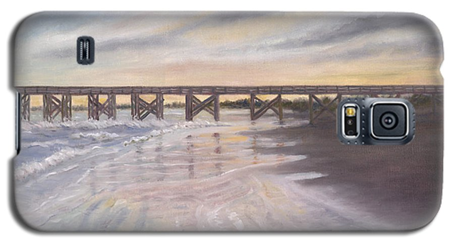 Beach; Pier; Low Country Galaxy S5 Case featuring the painting Reflections by Ben Kiger