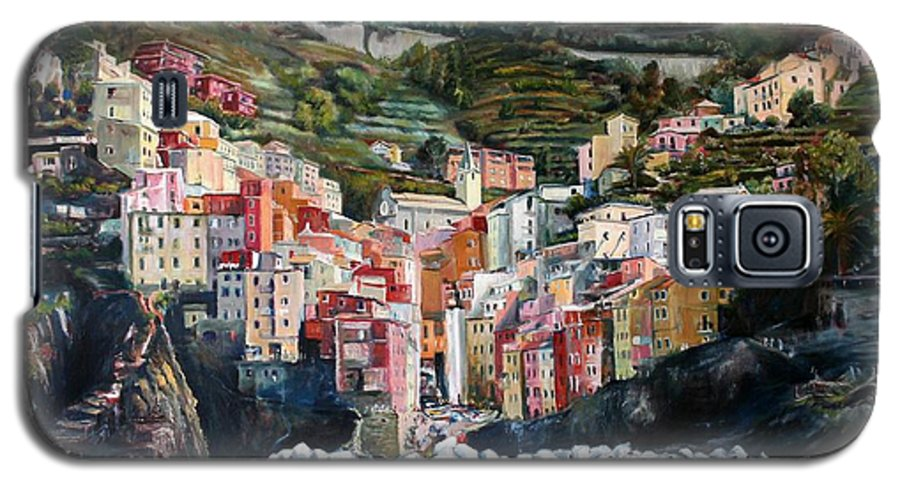 Cinque Terre Galaxy S5 Case featuring the painting Riomaggiore Glory- Cinque Terre by Jennifer Lycke