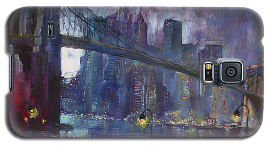 Brooklyn Bridge Galaxy S5 Case featuring the painting Romance By East River Nyc by Ylli Haruni
