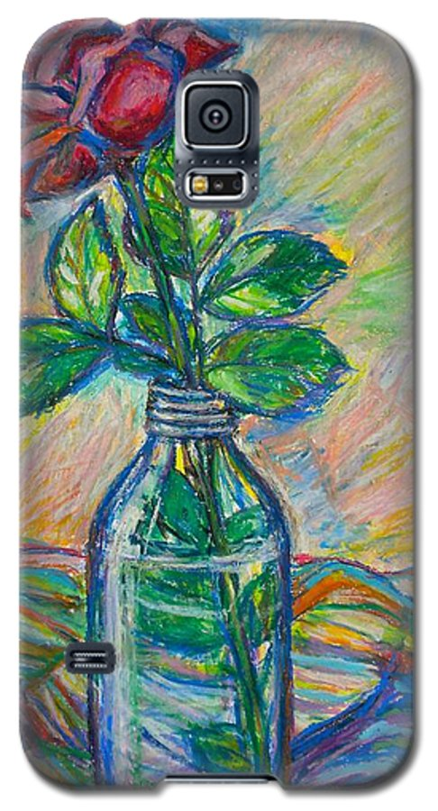 Still Life Galaxy S5 Case featuring the painting Rose In A Bottle by Kendall Kessler