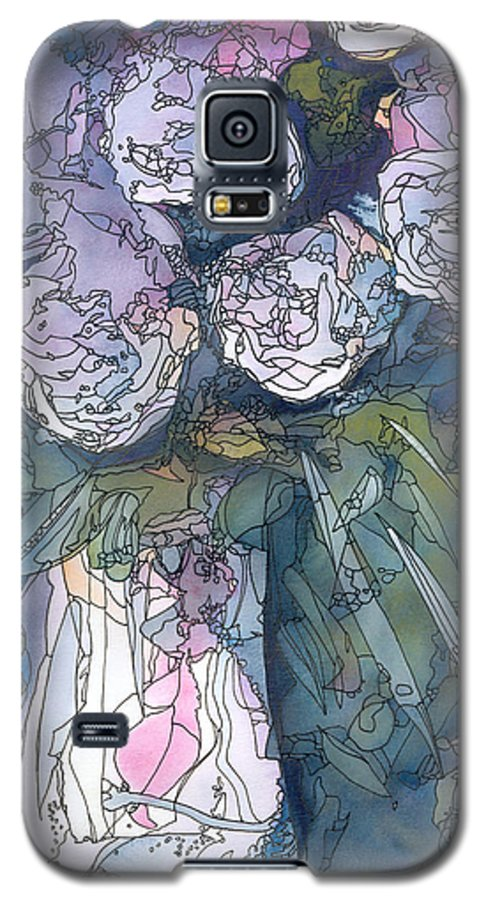 Roses Galaxy S5 Case featuring the painting Roses In A Vase by Christina Rahm Galanis