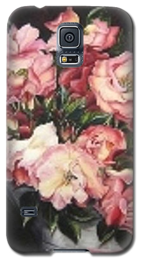 Pink Roses Floral Flowers Galaxy S5 Case featuring the painting Roses In A Watercan by Karin Dawn Kelshall- Best