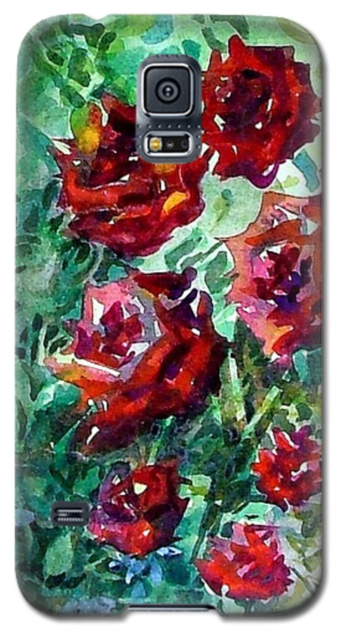 Rose Galaxy S5 Case featuring the painting Roses by Mindy Newman