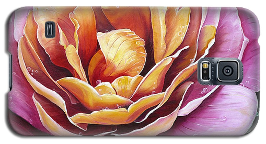 Rose Painting Pink Yellow Floral Painting Flower Bloom Botanical Painting Botanical Painting Galaxy S5 Case featuring the painting Rosy Dew by Karin Dawn Kelshall- Best