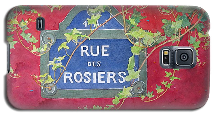 Red Wall Galaxy S5 Case featuring the painting Rue Des Rosiers In Paris by Mary Ellen Mueller Legault