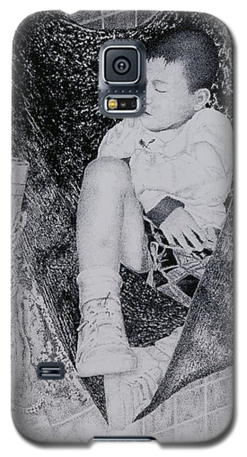 Tot Child Sleeping Boy Galaxy S5 Case featuring the painting Safety Net by Tony Ruggiero