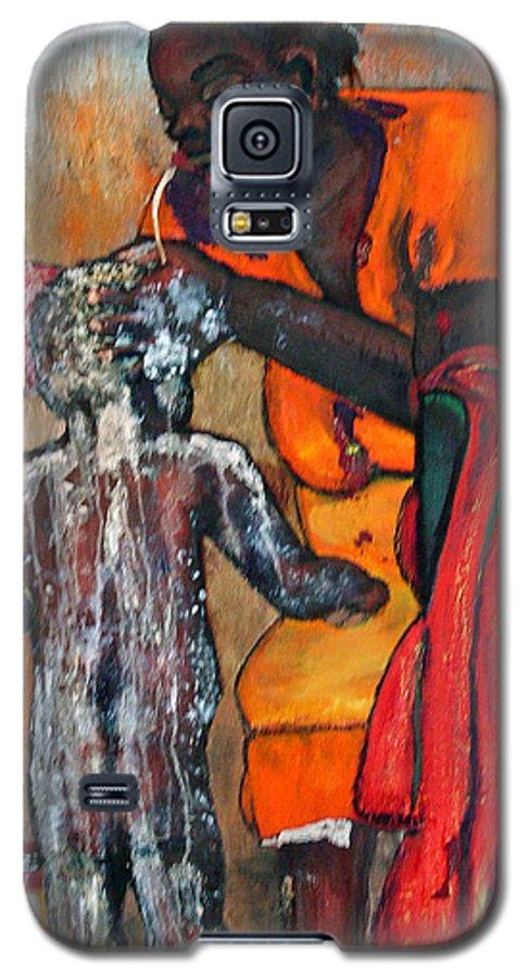 Mom Bathing Boy Galaxy S5 Case featuring the painting Saturday Night Bath by Peggy Blood
