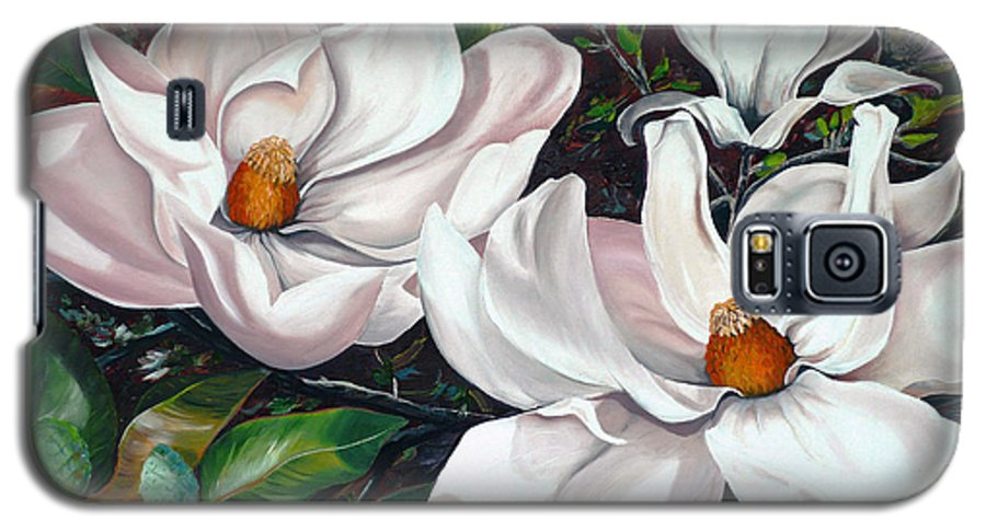Magnolia Painting Flower Painting Botanical Painting Floral Painting Botanical Bloom Magnolia Flower White Flower Greeting Card Painting Galaxy S5 Case featuring the painting Scent Of The South. by Karin Dawn Kelshall- Best