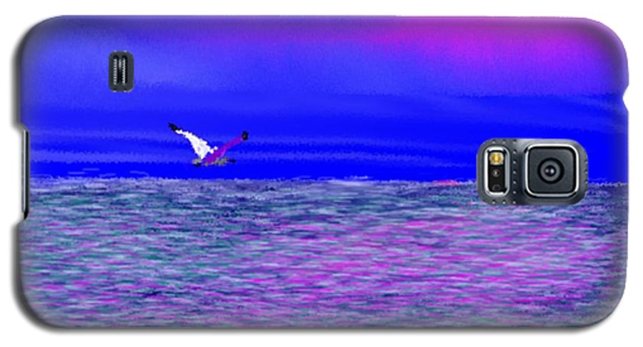 Evening.sky.clouds.sunrays.sun.sunset.sea.waves.colors.blue.pink.red.dark Blue Galaxy S5 Case featuring the digital art Sea. Last Rays Of Sun by Dr Loifer Vladimir