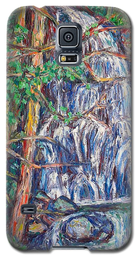 Waterfall Galaxy S5 Case featuring the painting Secluded Waterfall by Kendall Kessler