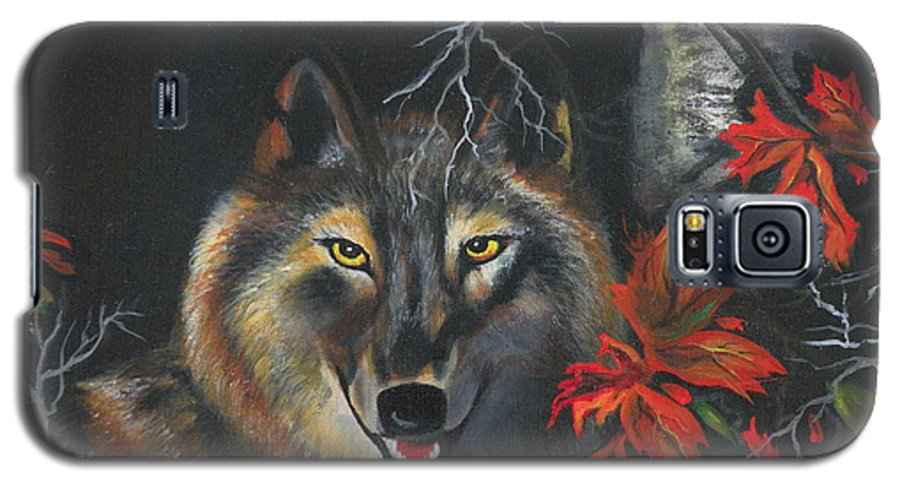 Wolf Galaxy S5 Case featuring the painting Seneca by Lora Duguay