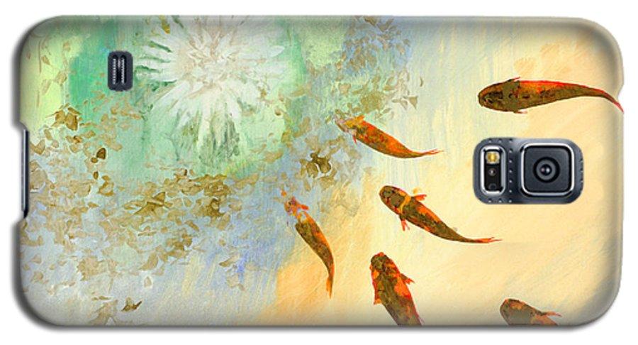 Koi Galaxy S5 Case featuring the painting Sette Pesciolini Verdi by Guido Borelli