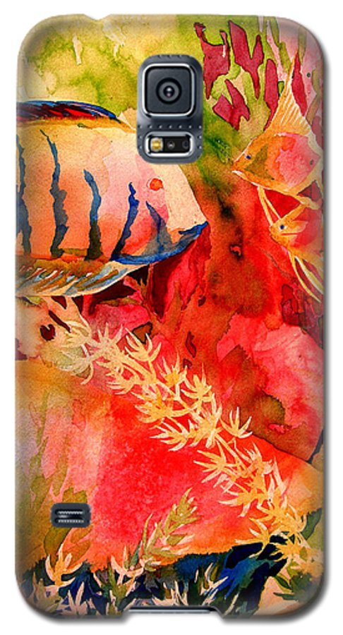 Fish Prints Galaxy S5 Case featuring the painting Severums And Angels by Julianne Felton