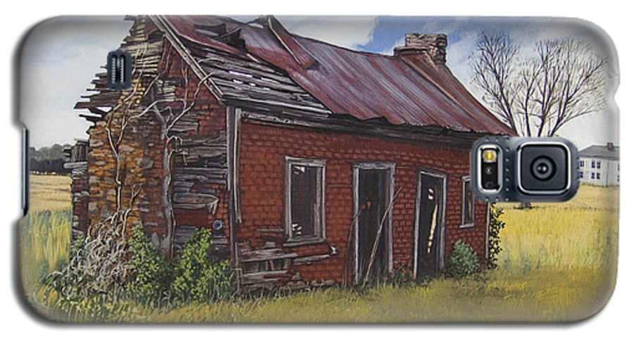Landscape Galaxy S5 Case featuring the painting Sharecroppers Shack by Peter Muzyka