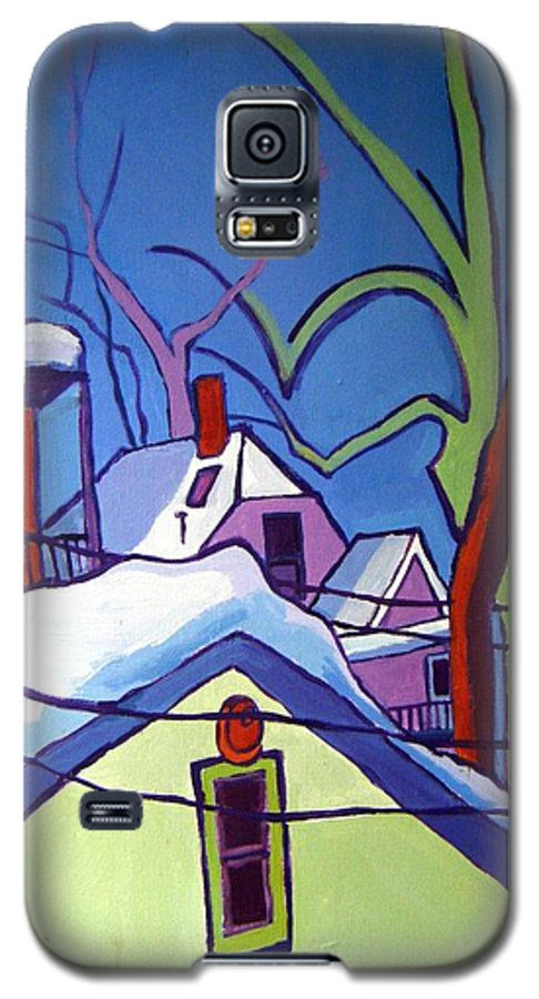 Buildings Galaxy S5 Case featuring the painting Sheffield Winter by Debra Bretton Robinson
