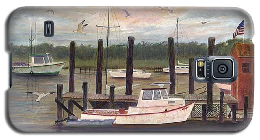 Charleston; Boats; Fishing Dock; Water Galaxy S5 Case featuring the painting Shem Creek by Ben Kiger