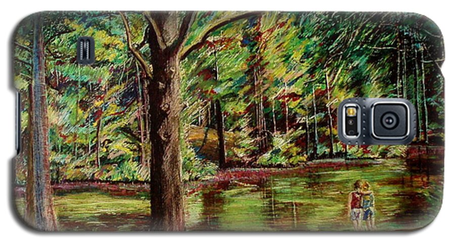 New Hampshire Galaxy S5 Case featuring the pastel Sisters At Wason Pond by Sean Connolly