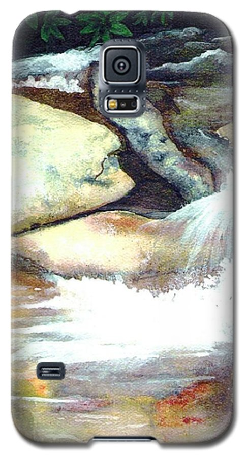 Fine Art Galaxy S5 Case featuring the painting Smoky Mountains Waterfall by Patricia Griffin Brett