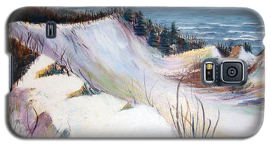 Snow Galaxy S5 Case featuring the painting Snow On The Dunes by Art Nomad Sandra Hansen