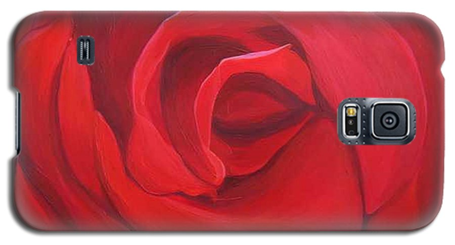Rose In The Italian Countryside Galaxy S5 Case featuring the painting So Red The Rose by Hunter Jay