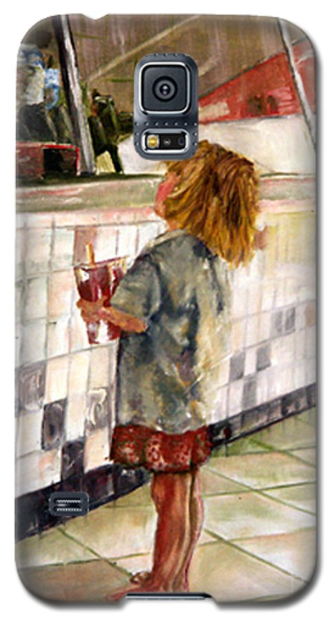 Soda Galaxy S5 Case featuring the painting Soda Girl by CJ Rider