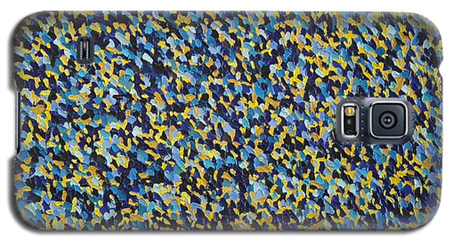 Abstract Galaxy S5 Case featuring the painting Soft Blue With Yellow by Dean Triolo