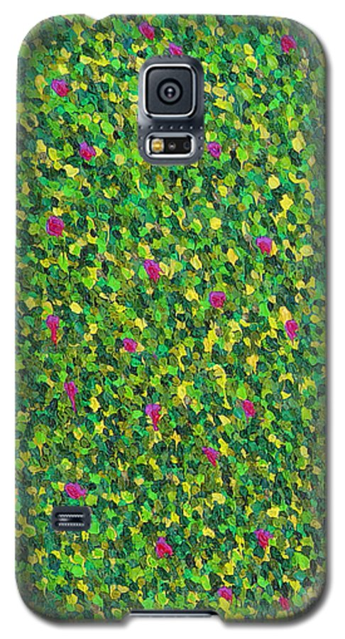 Abstract Galaxy S5 Case featuring the painting Soft Green With Pink by Dean Triolo