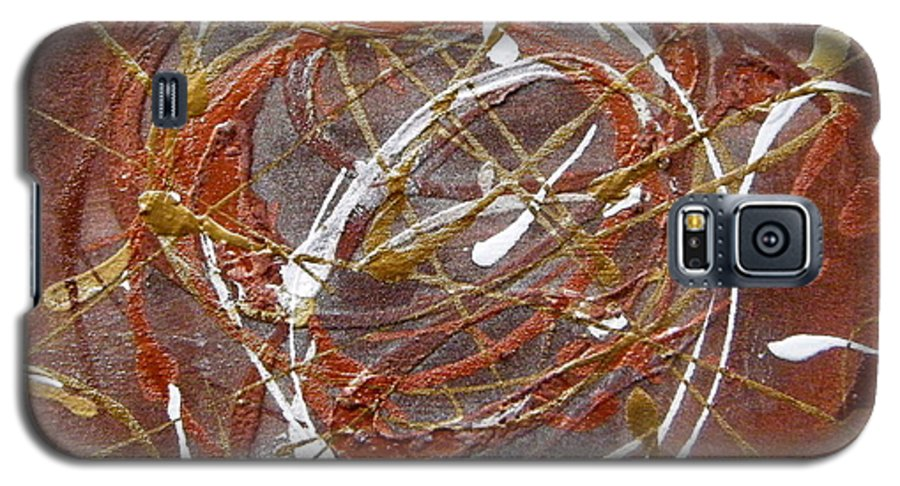 Bronze Galaxy S5 Case featuring the painting Solaris One by Holly Picano