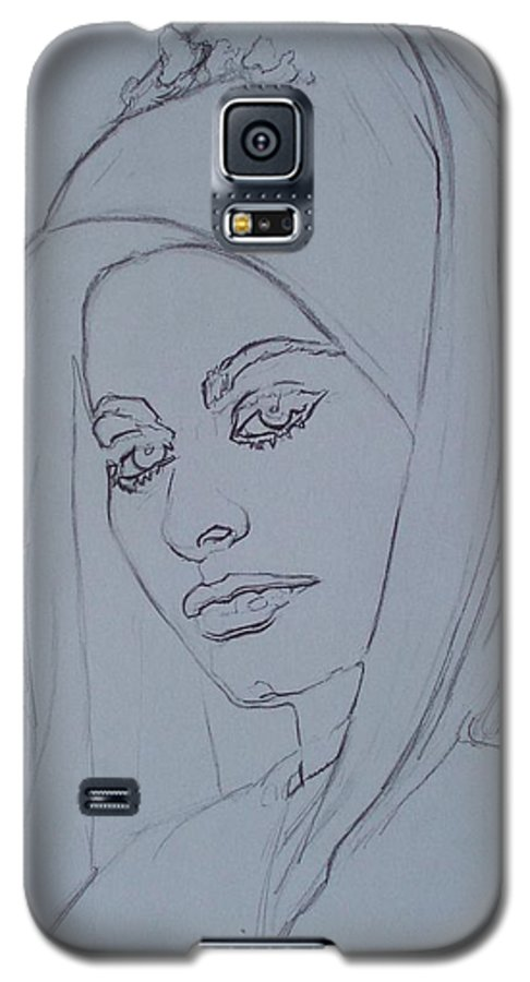 Woman Galaxy S5 Case featuring the drawing Sophia Loren In Headdress by Sean Connolly