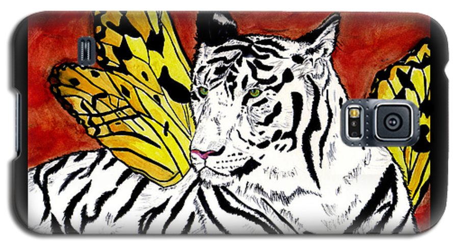 Tiger Galaxy S5 Case featuring the painting Soul Rhapsody by Crystal Hubbard