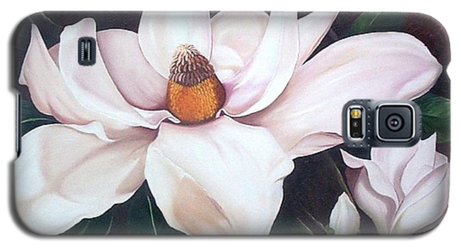 Magnolia Southern Bloom Floral Botanical White Galaxy S5 Case featuring the painting Southern Beauty by Karin Dawn Kelshall- Best