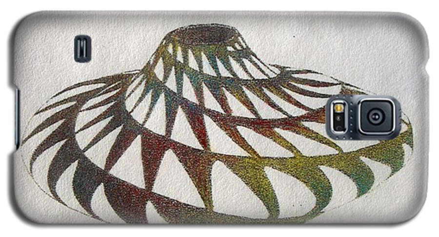 Pottery Southwest Rainbow American Indian Desert Galaxy S5 Case featuring the painting Southwest II by Tony Ruggiero