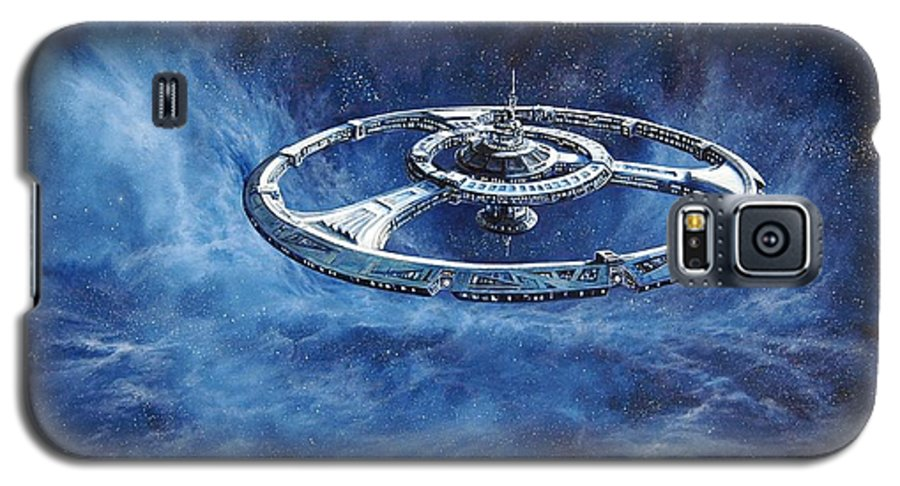Sci-fi Galaxy S5 Case featuring the painting Deep Space Eight Station Of The Future by Murphy Elliott