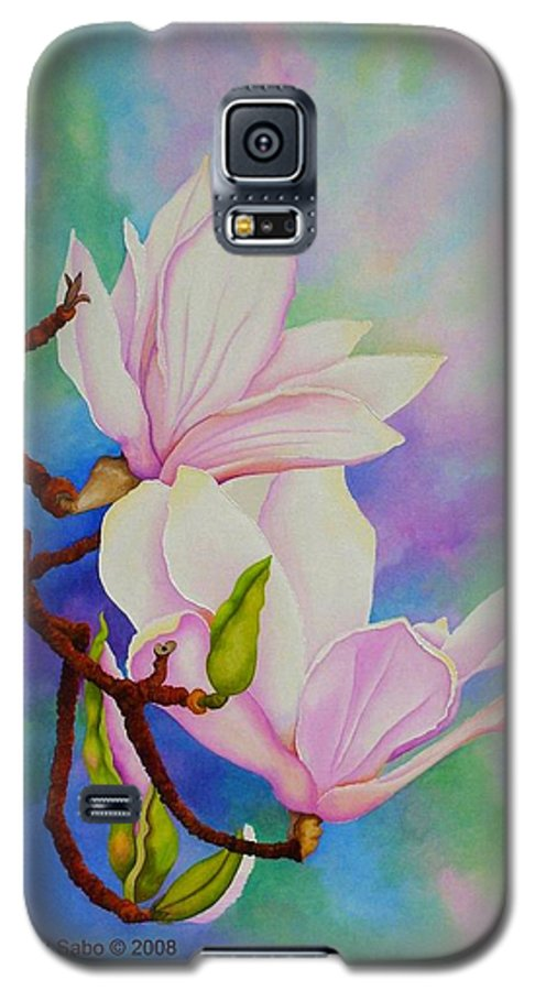 Pastels Galaxy S5 Case featuring the painting Spring Magnolia by Carol Sabo