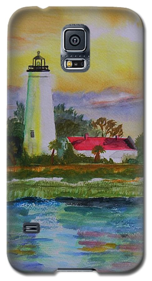 Landscape Galaxy S5 Case featuring the painting St. Marks Lighthouse-2 by Warren Thompson