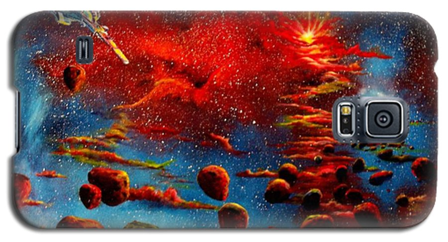 Nova Galaxy S5 Case featuring the painting Starberry Nova Alien Excape by Murphy Elliott