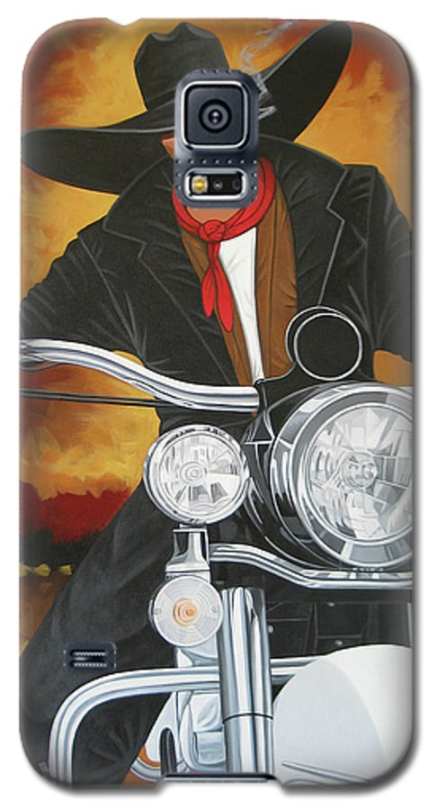 Cowboy On Motorcycle Galaxy S5 Case featuring the painting Steel Pony by Lance Headlee