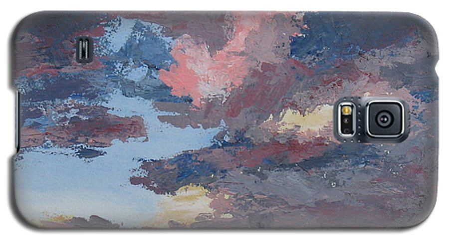 Stormy Sky Galaxy S5 Case featuring the painting Storm A Brewin by Janis Mock-Jones